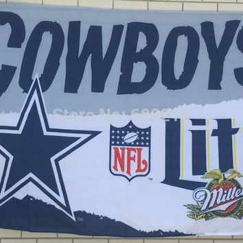Dallas Cowboys MILLER LITE 3x5 FEET FLAG BANNER 1996 Dallas Cowboys BEER NEW 3ft x 5ft Football Hockey USA Flag