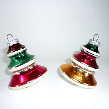 Shiny Brite Tree Shaped Christmas Ornaments Tornado or Top Vintage Mercury Glass Pink Green Gold Silver