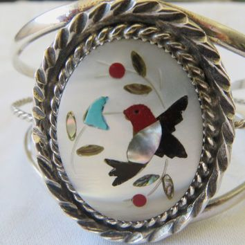 Navajo Sterling Bracelet Mother of Pearl Turquoise Coral Onyx Inlay, Hummingbird Cuff Bracelet Vintage Navajo Old Pawn Jewelry