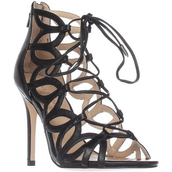Ivanka Trump Hela Lace Up Gladiator Sandals, Black, 5.5 US