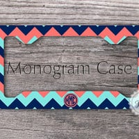 License plate frame - Mixed chevron - aquamarine, navy blue and coral, personalized front car plate