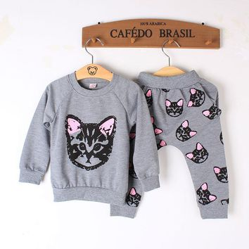Autumn Winter Baby Girl Clothes Infant clothes Clothing sets Cotton Cute Cat Full Sleeve + Pant Baby girl clothing Suit