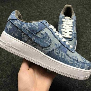 Supreme X Lv X Nike Air Force One 1 Denim Sport Shoes Casual Shoes 318775-046 - Beauty Ticks