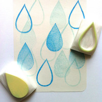 rain drop rubber stamp set. hand carved rubber stamp. tear drop stamps. pattern stamp. card making. diy projects. set of 2. medium.