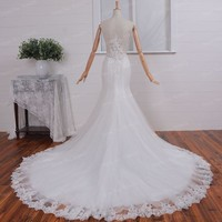 Custom Size V Neck Real Picture Lace Wedding Dresses 2017 Mermaid Bridal Gown Sheer Back with Appliques Chapel Train