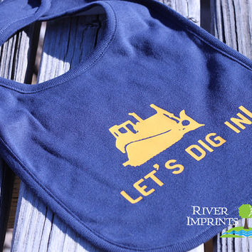 LETS DIG IN, boy or girl Infant Reversible Bib with barn image