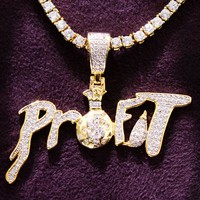 Men's Iced Out Profit Dollar Money Bag Custom Pendant Chain