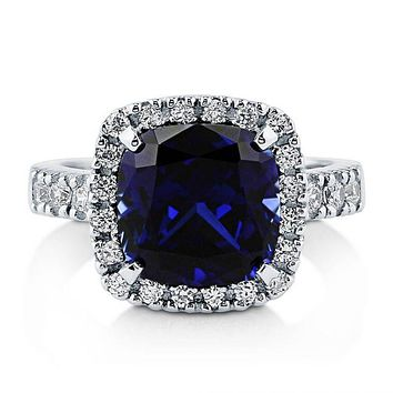 A Perfect Blue 6CT Cushion Cut Halo Russian Lab Diamond Engagement Ring
