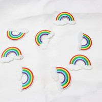 Embroidered Iron On Patches For Clothes Sewing Rainbow  cherry Patches Red Heart Patches Clothing DIY Motif Applique Sticker
