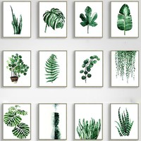 Wall Painting Plant Leaves Posters and Prints Landscape Wall Art Canvas Painting Green Tropical Leaf Wall Pictures Home Decor
