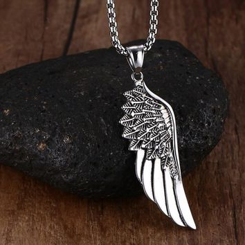 ca auguau Men's Stainless Steel Vintage Feather Angel Wing Pendants Necklace Silver Tone