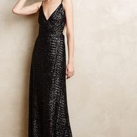 Starlight Sequin Gown by Anthropologie Black