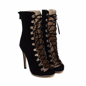 Trendy Pointed Peep Toe Lace Up Women Stiletto Booties