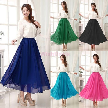 Fashion Skirts Womens New Summer Fashion Maxi Skirt Long Elastic High Waist Casual Chiffon Skirt  SV003303|42101 = 1946256004