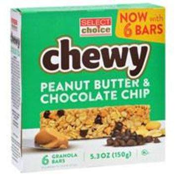 SELECT CHOICE CHEWY PEANUT BUTTER & CHOCOLATE CHIPS GRANOLA BARS 6 CT