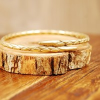 K/LLER Collection Rope Bangle in Brass - Hawthorn Shop