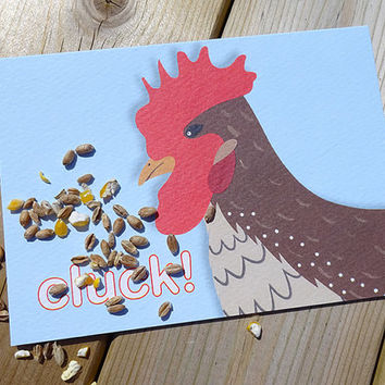 Hen card, this cute hand-illustrated chicken card is ideal for children who love farm animals, fun wildlife notecard