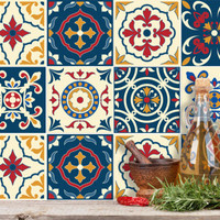 Tile sticker Portuguese set 12 pcs  wall tattoo wall art kitchen bathroom vinyl sticker kitchen decor