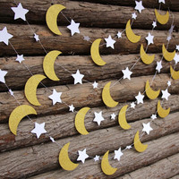 Gold Glitter Moon & Star Garland // Kids Bedroom // Birthday Decoration // Wedding Photo Booth Backdrop