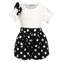 Cute Girls Black and White Polka Dot Outfit
