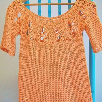 Vintage Modern Style Orange Crochet Lace Top