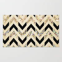 Black & Gold Glitter Herringbone Chevron on Nude Cream Rug by Tangerine-Tane
