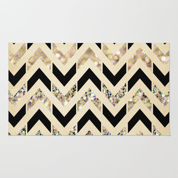 Ordinaire Black U0026 Gold Glitter Herringbone Chevron On Nude Cream Rug By Ta. Bathroom  ...