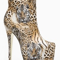 Bumper Tiger Pointy Toe Stiletto Platform Bootie