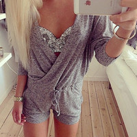 Grey V Neck Long Sleeve Romper