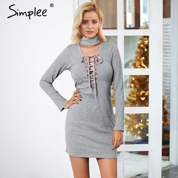 Simplee Front cross lace up knitted sexy dress women plus size Deep v neck autumn mini dress Long sleeve casual dress streetwear