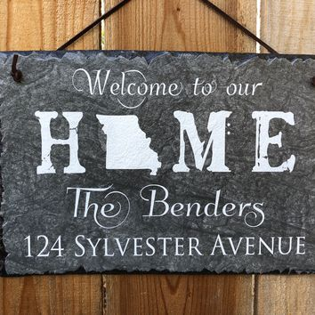 Customizable Slate Home State Sign - Handmade and Personalized with Name, Address and State