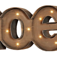 NOEL - Illuminated Wood and Metal Marquee Word Sign 25-in Christmas