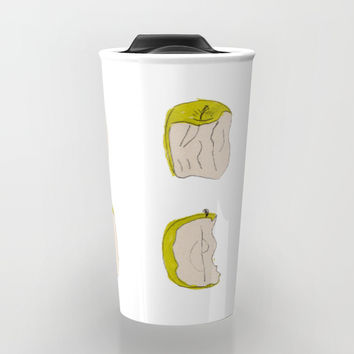 Eating process (Apple) // watercolor apple consumption Travel Mug by Camila Quintana S