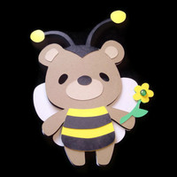 Teddy Bear Bumble Bee Card, Teddy Bear Cards, Kids Cards, Bear Card, Bumble Bee Card