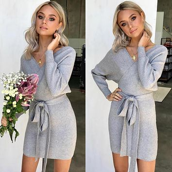 Women Casual Fashion Solid Color V-Neck Long Sleeve Knit Sweater Dress