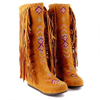 PXELENA 2017 Hot Fashion Ethnic Woman Bohemian Flock Tassle Hidden Moccasin Knee High Boots Fringe Female Slip On Shoes 4 Colors