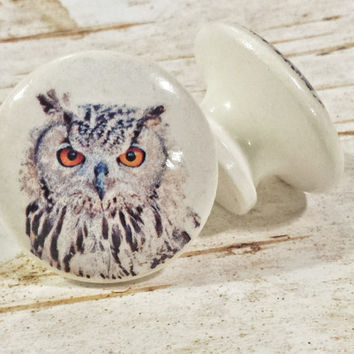 Handmade Knobs Drawer Pulls, Owl Bird, 1.5 Inch Cabinet Pull Handles, Dresser Knob Pulls, We Make Customized Orders