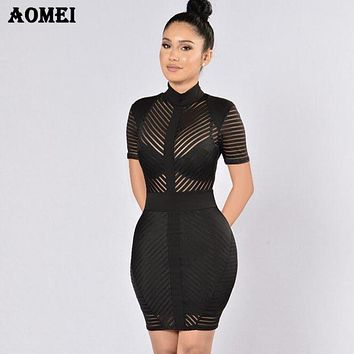 Women Bodycon Dress Patchwork See Through Evening Party Sexy Dinner Clubwear Ladies Slim Tunic Elegant Tight Spring 2019 Robes