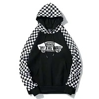 VANS Fashion New Bust Letter Truck Print And Sleeve Plaid Print Women Men Thick Keep Warm Hooded Long Sleeve Top Sweater Black