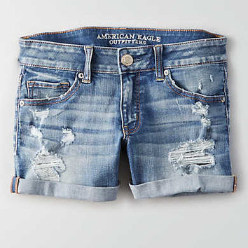 AEO Denim X Café Midi Short, Medium Indigo