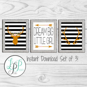 Baby Girl Nursery Art, Black and Gold Nursery Prints, Deer Head Nursery Prints, Baby Girl Nursery, Baby Shower Gift, Baby Girl Deer Gift