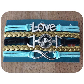 3 Charm Cuff Bracelet silver charms horse bit, Love, and infinity. Black, aqua suede and gold leather