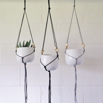 Hanging Planter, White Ceramic Pot, Macrame, Geometric Beads- Free Shipping