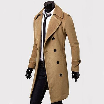 Winter Fall Spring Men Double Breasted Turn-down Collar Overcoat Casual  Fashion Slim Outwear Trench Coat Winter Long Jacket