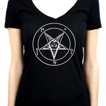 White Baphomet Inverted Pentagram Women's V-Neck Shirt Top Occult