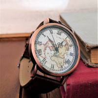 traveler gift, world map watch