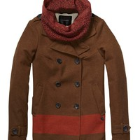 Colour Block Stripe Pea Coat - Scotch & Soda