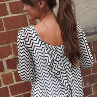 Chevron Bow Blouse in Black | The Rage