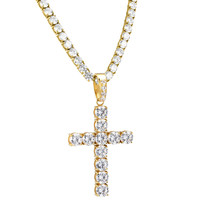 "Stainless Steel 6mm Solitaire Cross Pendant 14k Gold Finish with Steel 6mm Tennis Link 26"" Necklace"