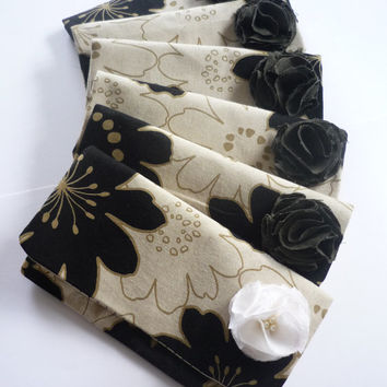 Bridesmaid clutch set of 6 with fabric flower, Japanese fabric, wedding clutch, bridal clutch, flower clutch, bridesmaid gift
